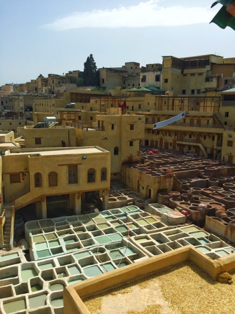 A semi-aerial view of Fes and its hellish-smelling tanneries. Female travelers beware - Fes is a bit dodgy