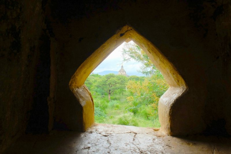 Even through the tiniest of windows, more pagodas and shrines await.