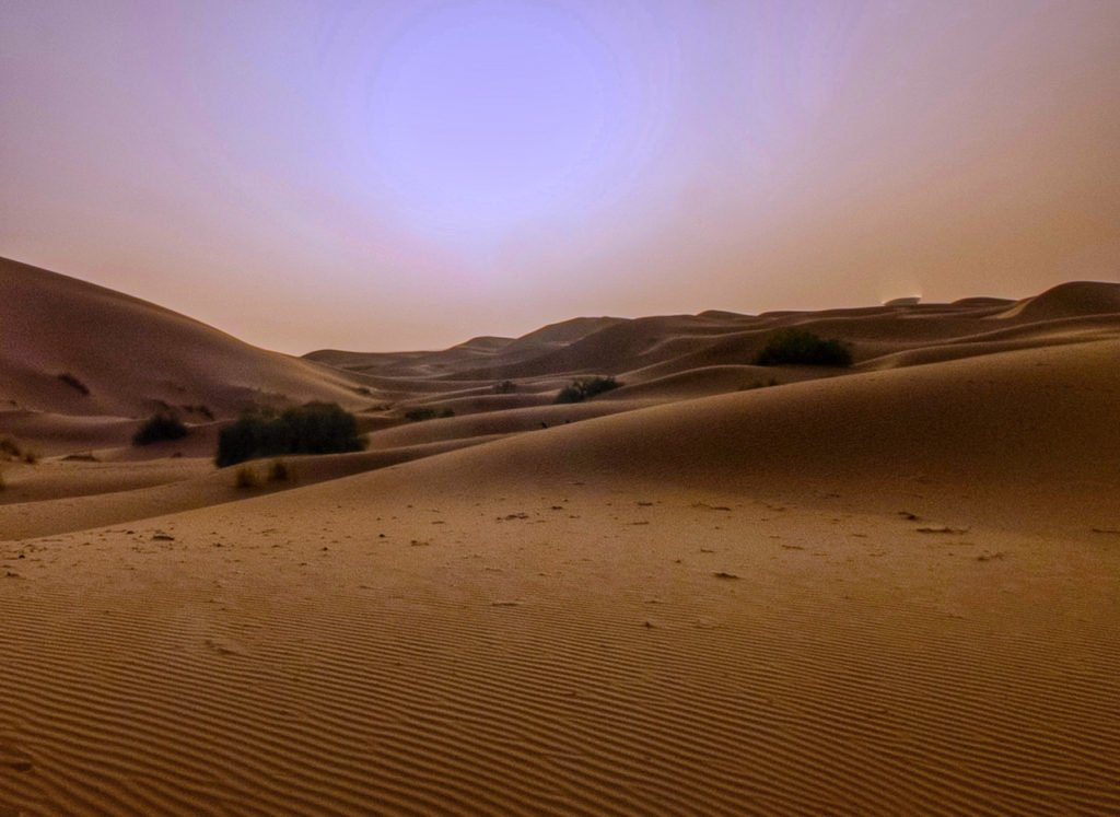 Hazy sunrise in the Sahara desert