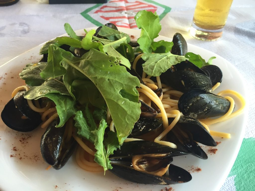 Delicious mussel and arugula pasta will only set you back 350 lek, or a little under $3 USD.