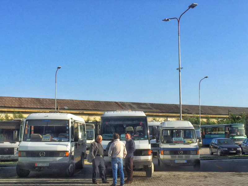 The closest thing to a bus station I encountered when traveling Albania