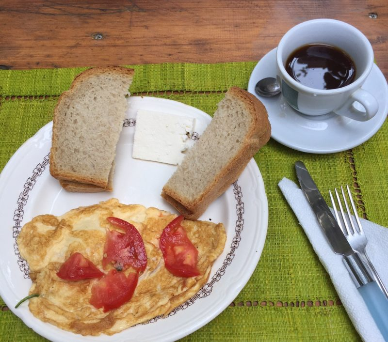 The best hostel I've ever stayed at for $12 a night, with this delicious omelette and Albanian coffee included.