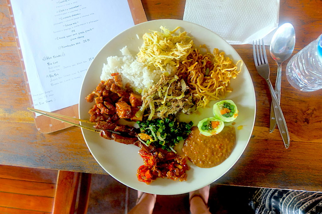 delicious balinese food after cycling in bali