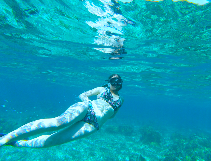 Me swimming and snorkeling in Caye Caulker, Belize