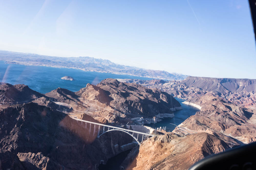The hoover dam was part of helicopter in Vegas tour