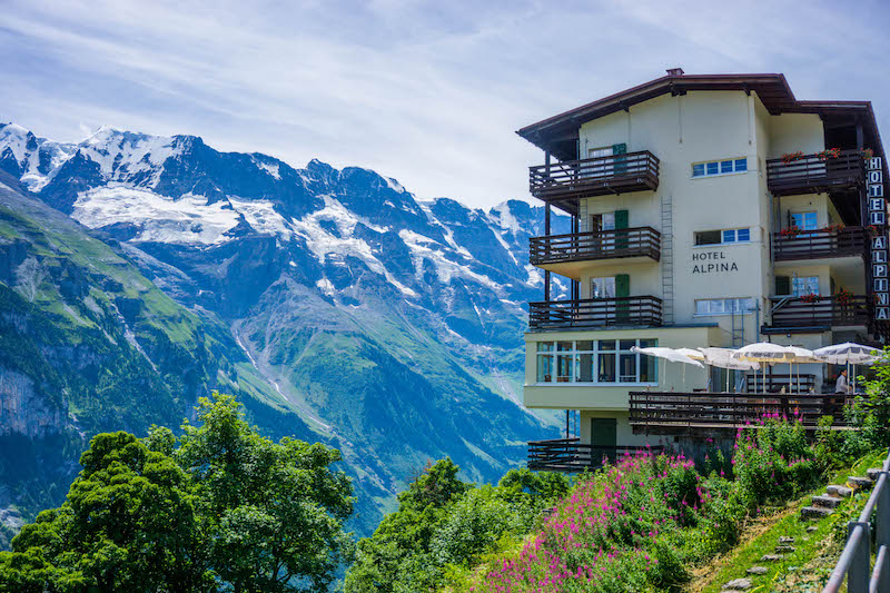 [hotel with snowy mountains in the background] one of the most scenic parts of Switzerland