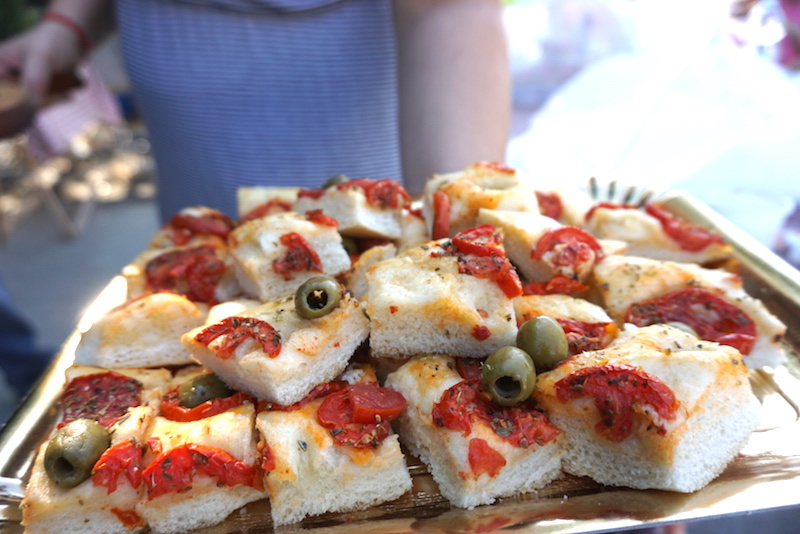 Traditional food in Bologna - a pizza focaccia