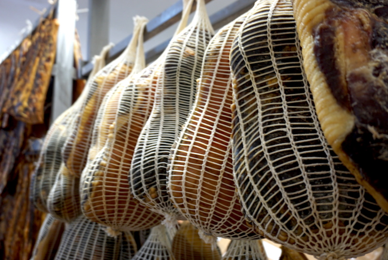 One of my favorite foods in Bologna - prosciutto - hanging up to cure