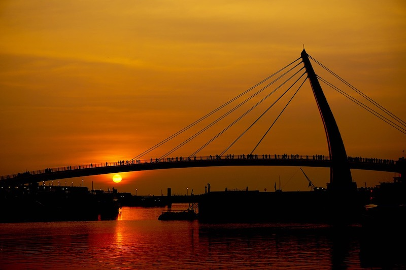 bridge at sunset - Tamsui lover's bridge is one of the best things to do in Taipei
