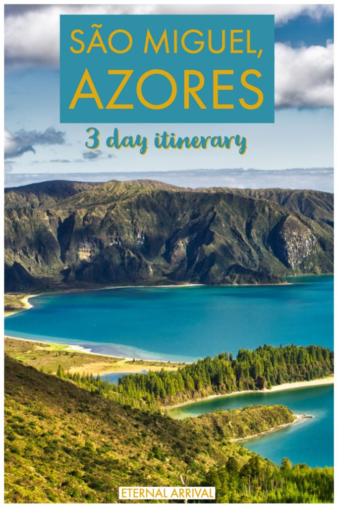 Going to visit the Azores Islands, Portugal's magical island cluster in the middle of the Atlantic? This guide to Sao Miguel will help you plan the perfect Azores itinerary. Starting in Ponta Delgada, this Azores itinerary will take you to the best views, hot springs, beaches, and hiking on the island. Check out this 3 days in Sao Miguel itinerary to help you plan your perfect Azores trip!