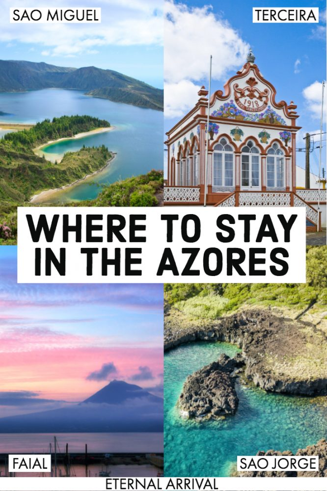 Want to travel the Azores, Portugal, but don't know how to pick the best island in the Azores? Use this Azores travel guide! From the most popular Azores island, Sao Miguel (Ponta Delgada) to others like Terceira, Faial, Sao Jorge, and Pico, here's where to stay in the Azores.  Whether you're island hopping, finding photography spots, relaxing in hot springs, seeing lakes & volcanoes & Azores nature, or relaxing on beaches & hot springs, there's the perfect Azores island to stay on for you.