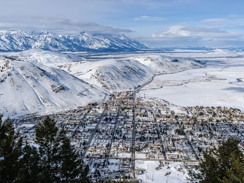 An Aerial view over Jackson Hole in winter with lots of snow