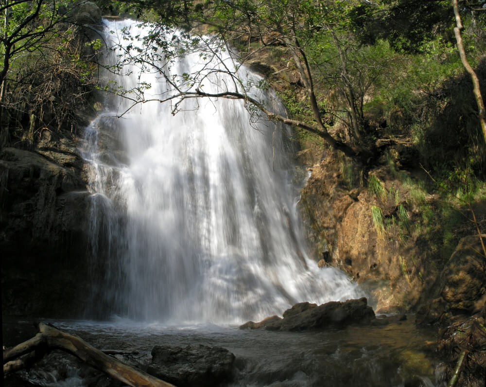 Massive powerful waterfall at Escondido Falls in Malibu, a day trip must-see!