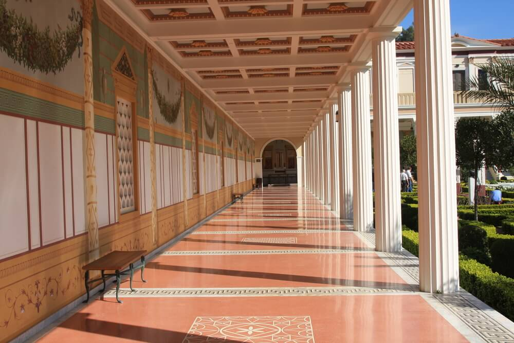 Elaborate hallway at the Getty Villa in malibu, a must see when you have one day in Malibu