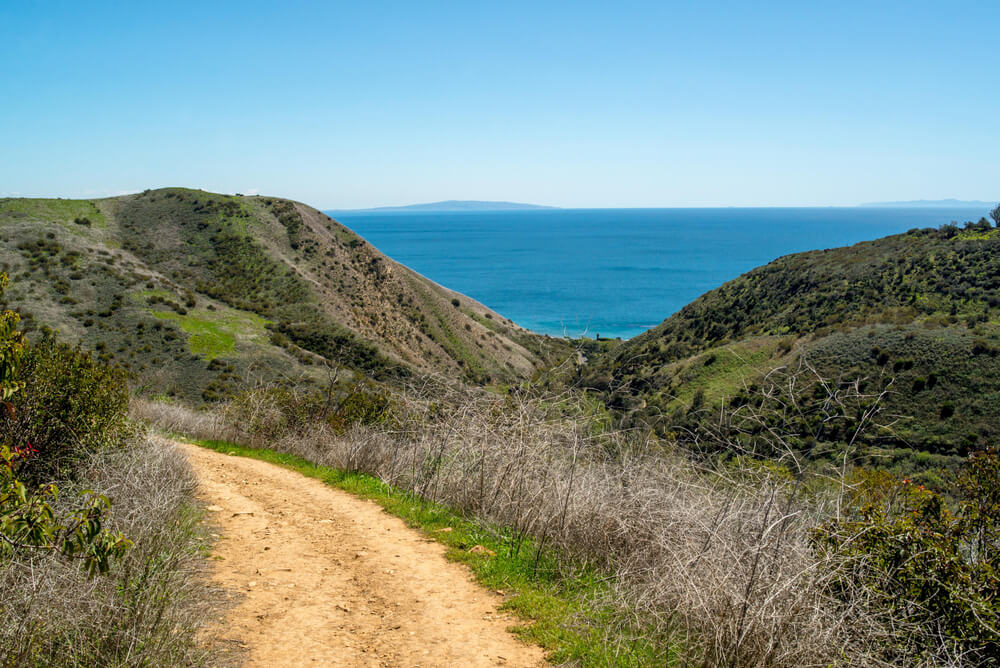 Beautiful view of the Pacific Ocean from the Solstice Canyon Loop in Malibu